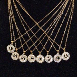 Jewelry - New 18K gold letter CZ diamond necklace